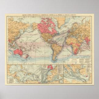 Imperio británico rutas corrientes poster