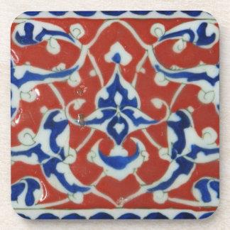 Imperio otomano turco rojo, blanco, azul de la tej posavasos