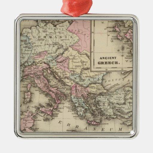 Imperio romano, Grecia Adorno Cuadrado Plateado