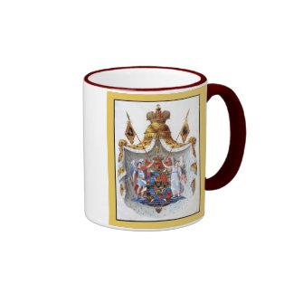 Imperio ruso, escudo de armas lleno tazas de café