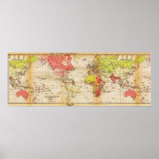 imperios 1918 y comercio del mapa del mundo póster