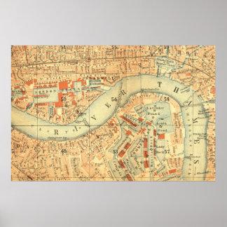 Impermeables de ciudad - mapa Londres el río Posters