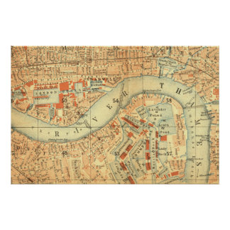 Impermeables de ciudad - mapa Londres el río Póster