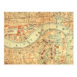 Impermeables de ciudad - mapa Londres el río Tarjeta Postal