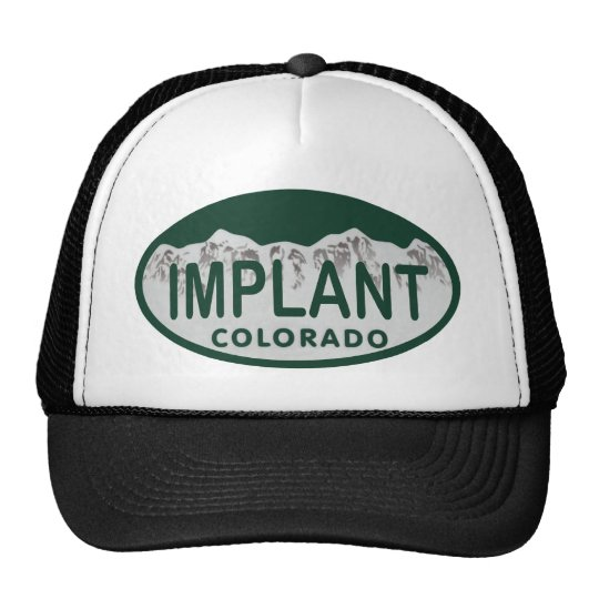 Implant license oval trucker hat