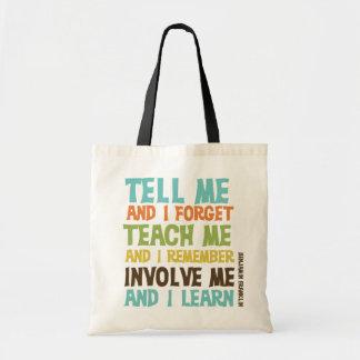 Impliqúeme cita inspirada bolsas