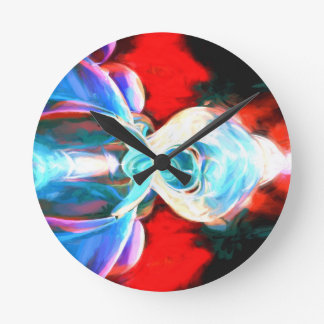Implosion Painted Abstract Round Clock