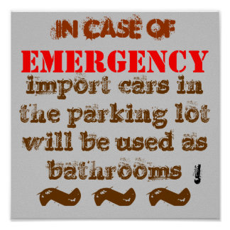 Import cars used for toilets in EMERGENCY! Poster