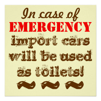 import cars will be use as toilets in EMERGENCY Poster
