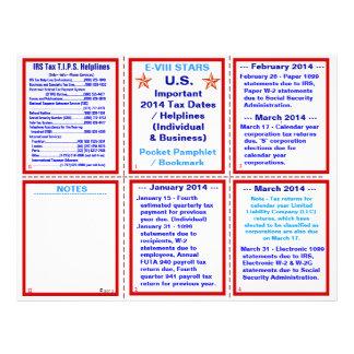 Important 2014 Tax Dates / Helplines Pamphlet Flyer