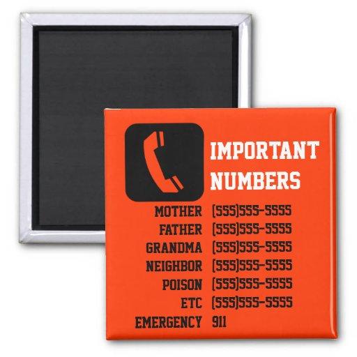 Important contact info for kids, babysitter etc fridge magnets