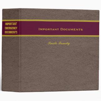 Important Emergency Documents Custom Name binder