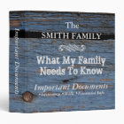 Important Family Documents•Custom 3 Ring Binder