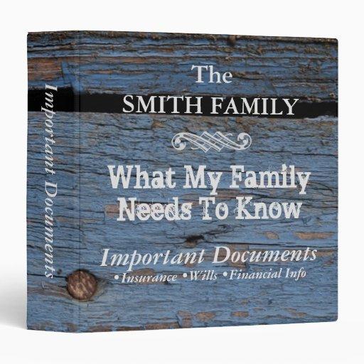 Important family documentsocustom 3 ring binder zazzle for Important family documents binder