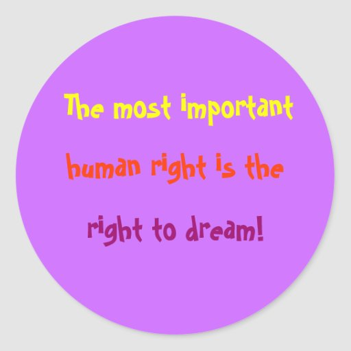 Important Human Rights Round Sticker