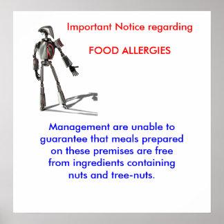 Important Notice regarding FOOD ALLERGIES Poster
