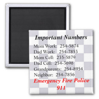 Important Numbers Magnet