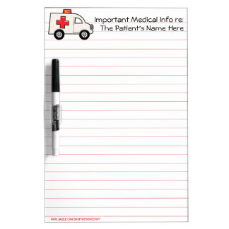 Important Patient Medical Info (Personalized) Dry Erase Board