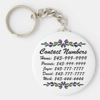 Important Phone Numbers Basic Round Button Keychain