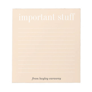 Important stuff dusty pink lined memo pad