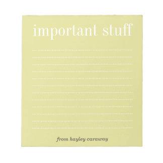 Important stuff ecru lined memo pad