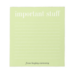 Important stuff tea green lined memo pad