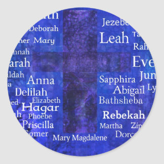 Important Women in the Bible list BLUE Classic Round Sticker