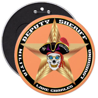 IMPORTANTE del ayudante del sheriff del pirata Pin Redondo De 6 Pulgadas