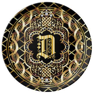 IMPORTANTE del monograma D leído sobre diseño Plato De Cerámica