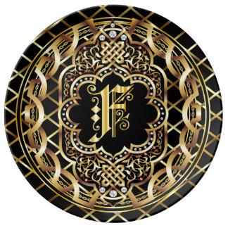 IMPORTANTE del monograma F leído sobre diseño Platos De Cerámica