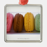 Imported gourmet French macarons (macaroons) Square Metal Christmas Ornament