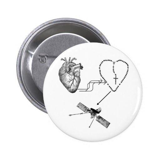Imposibilidad del rosario del corazón pin redondo 5 cm