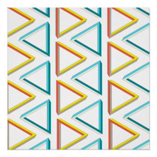 Impossible triangles geeky pattern poster