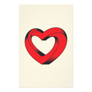 impossibly twisted heart stationery