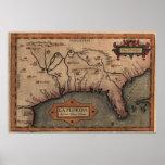 Impresión 1584 de la lona del mapa de la Florida d Póster