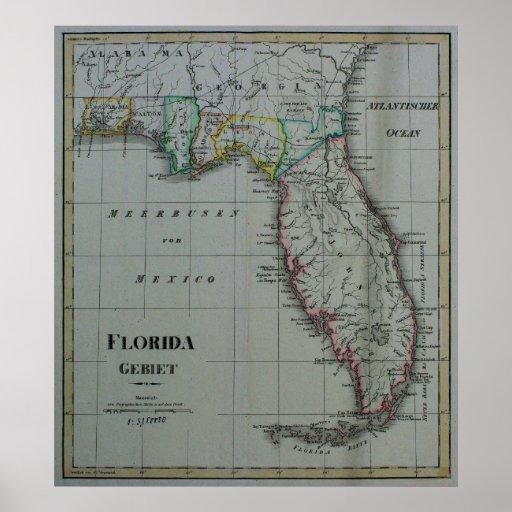 Impresión 1823 de la lona del mapa de la Florida Impresiones