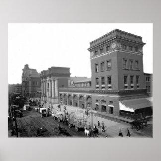 Impresión 1895 de Boston mA de la terminal de viaj Póster