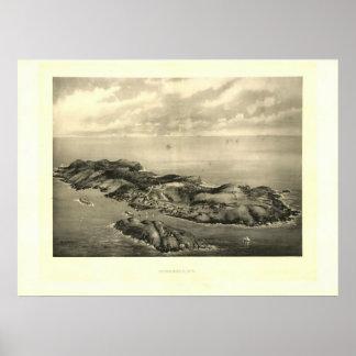 Impresión 1896 de la isla de Monhegan del vintage Poster