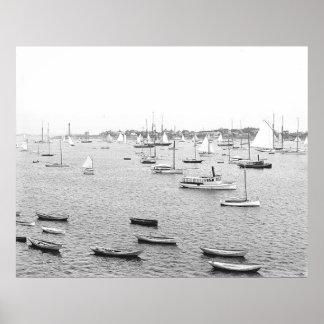 Impresión 1900 de Massachusetts del puerto de Marb Póster