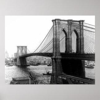 Impresión 1900 del puente NYC de East River Póster