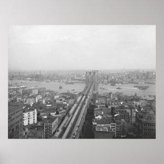 Impresión 1901 del puente de Brooklyn Póster