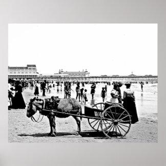 Impresión 1902 de la playa de Atlantic City Póster