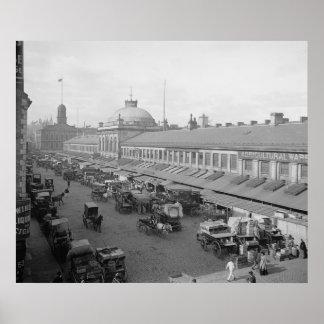 Impresión 1904 de Boston del mercado de Quincy Póster
