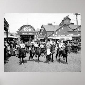 Impresión 1904 de la lona de Coney Island NY Póster