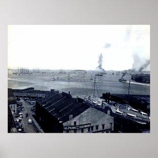Impresión 1906 del puerto de Boston Póster