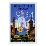 Impresión 1934 del poster del vintage de Chicago d