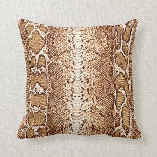 Impresión #1 de la piel de serpiente de Brown Cojín