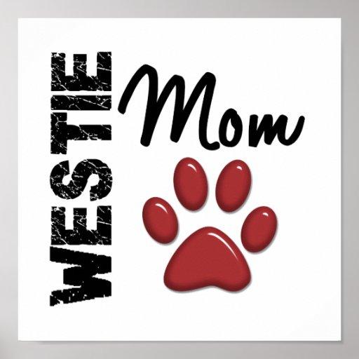 Impresión 2 de la pata de la mamá de Westie Póster