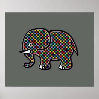 impresión a cuadros del elefante para las paredes póster