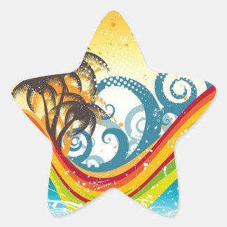Impresión abandonada extracto exótico de la isla pegatina en forma de estrella